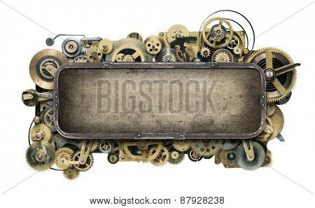 Stylized mechanical clockwork background.