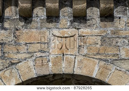 Detail Of Cross Tau Templar In Ponferrada Castle