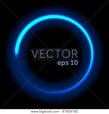 Blue neon glittering circle