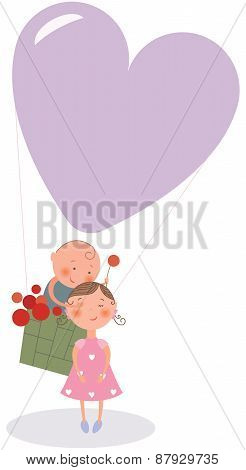 Boy And Girl In Hot-air Balloon