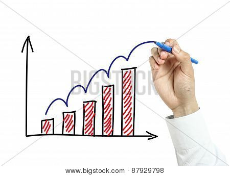 Businessman Hand Drawing Growth Graph