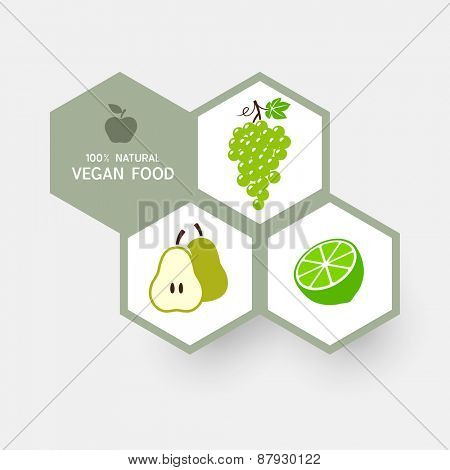 Vegan concept with fruit icons. Vector illustration