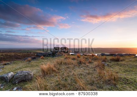 Sunset At Tregarrick Tor