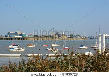 Boats On River Thames At Greenwich, London, England