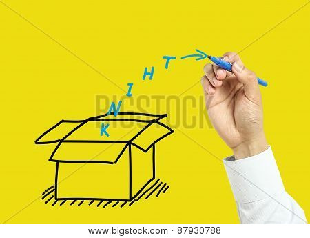 Businessman Hand Drawing Think Outside The Box Concept