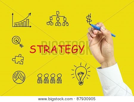 Businessman Hand Drawing Strategy Concept