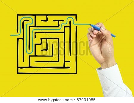 Businessman Hand Drawing Solution Concept