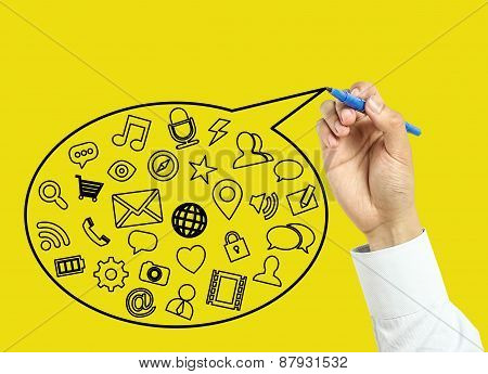 Businessman Hand Drawing Social Media Concept