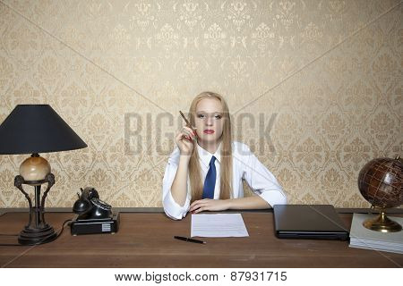 Portrait Of A Business Woman With A Cigarette