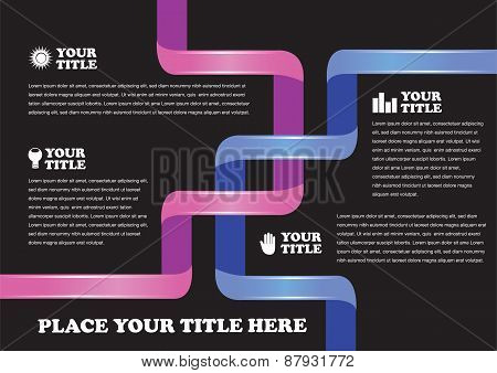 Intertwined Pink And Blue Ribbon Page Layout Design