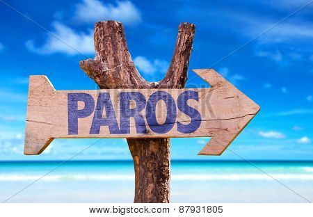 Paros wooden sign with beach background