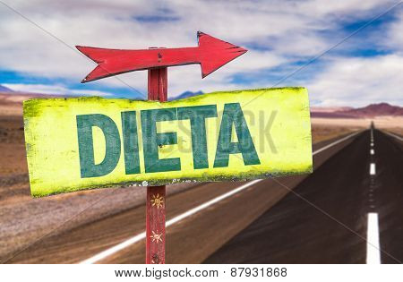 Diet (in Portuguese) sign with road background