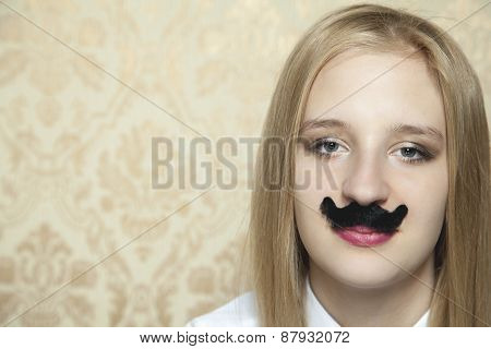 Portrait Of A Business Woman With A Mustache