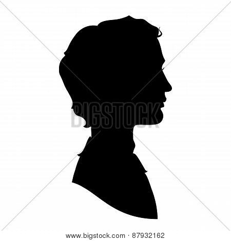 Profile silhouette of a handsome man