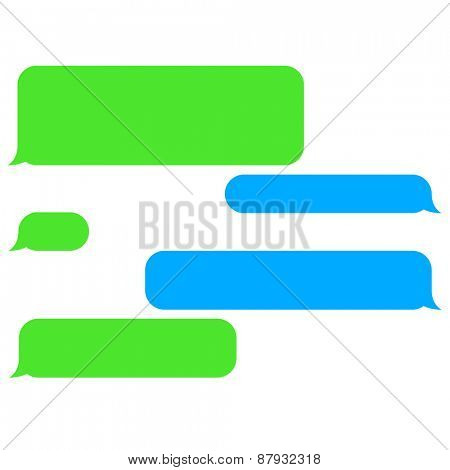 Vector flat phone chat bubbles. Sms messages. Speech bubbles. Short message service bubbles.