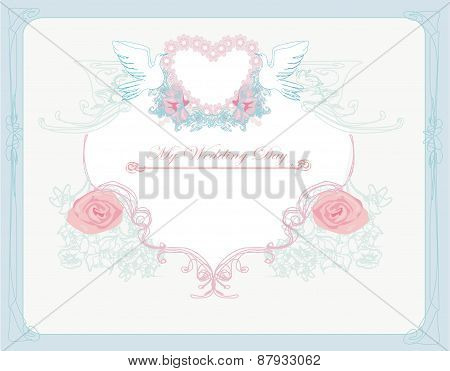 Romantic Card With Love Birds - Wedding Invitation