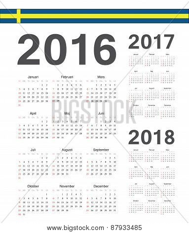 Set Of Swedish 2016, 2017, 2018 Year Vector Calendars
