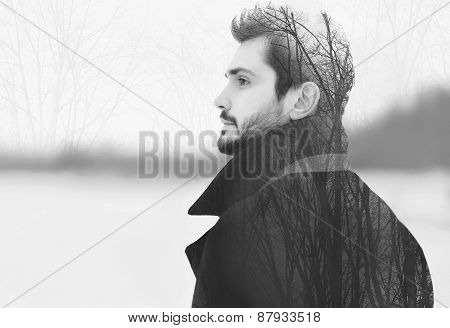 Double Exposure Of Handsome Elegant Bearded Man In Profile Pensive Looks Into The Distance, Black An