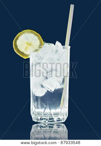 Refreshing Cocktail With Ice And Lemon Slice, Straw Tube