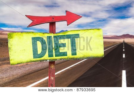 Diet sign with road background