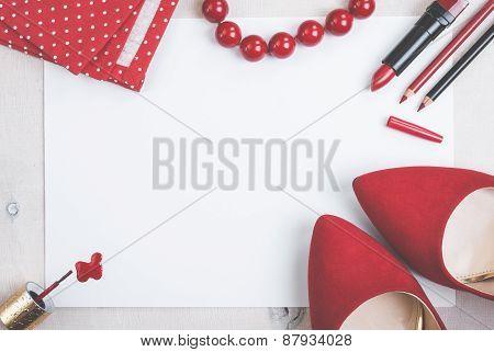 Still Life Of Fashion Woman. Feminine Cosmetic Background