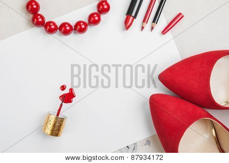 Still Life Of Fashion Woman. Feminine Cosmetic Background