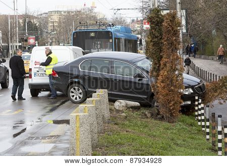 Car Crash Accident Trolley Bus