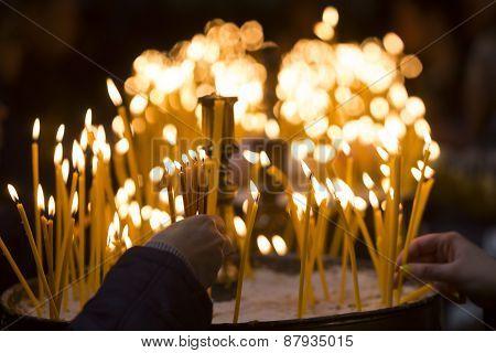Church Candles Human Hands