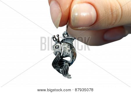 Silver Fish Pendant Hand In Girls'