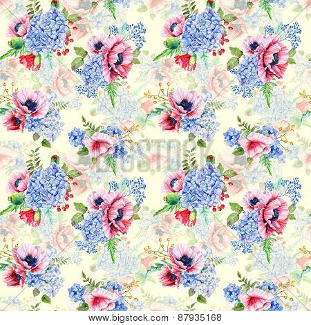 Seamless Pattern. Watercolor Hydrangea, Poppies, Currant.