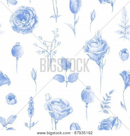 Seamless Pattern Of Watercolor Roses.
