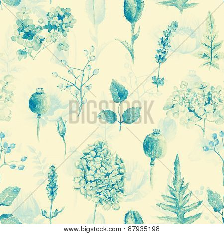 Seamless Pattern. Watercolor Hydrangea, Currant.