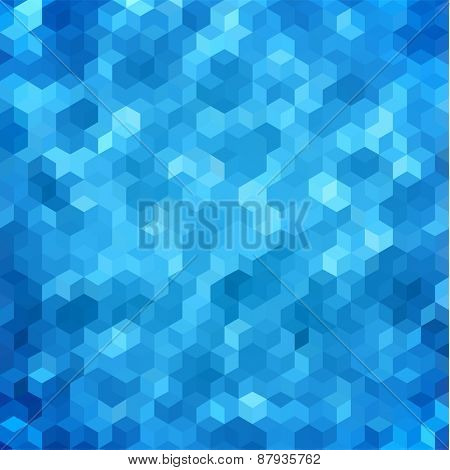 Abstract geometric blue hexagonal background - raster version