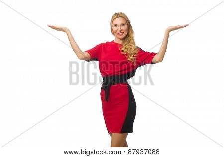 Beautiful lady in red black dress isolated on white