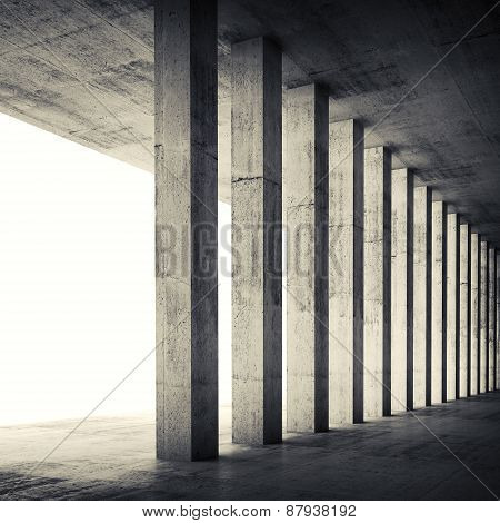 Empty Interior With Concrete Walls And Columns, 3D