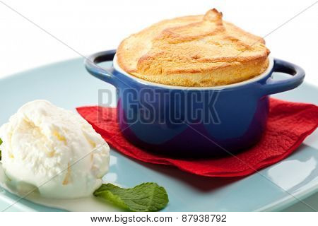 Mango Souffle Garnished with Ice Cream