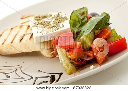 Greek Salad with Feta Cheese and Toast