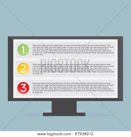 Monitor with list Flat illustration on blue background