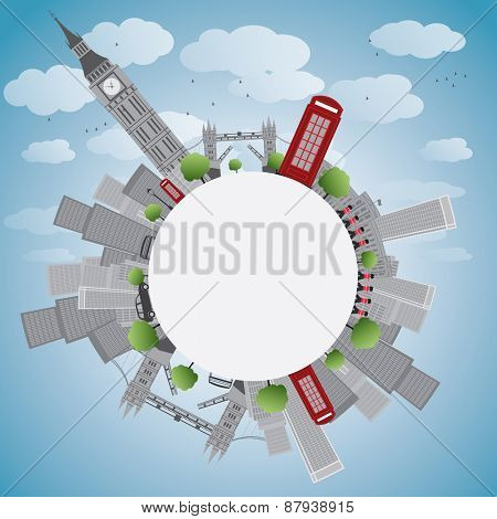 London panorama with big ben and skyscrapers illustration with place for text