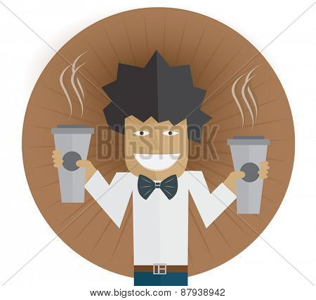 Waiter carrying two cups of coffee