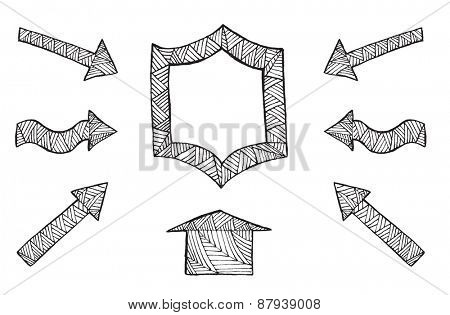 Collection of hand drawn arrows on white background