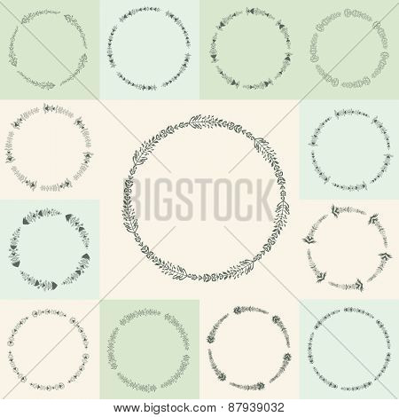 Set of 13 hand-drawn flourish circle and frames illustration in vintage style. Hand Drawn graphic and decorative elements