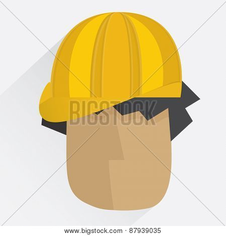 Worker head in helmet illustration in flat style with shadow
