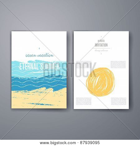 Sea background Invitation. Card with ink grunge texture. Summer background. Vintage creative cards.
