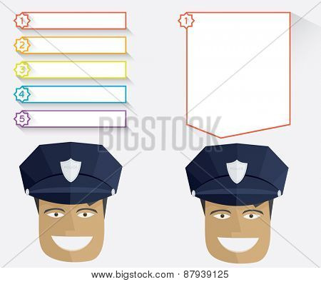 Policeman and blank message boards illustration in flat style