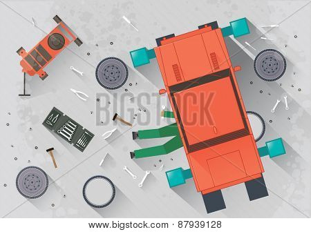 Mechanic repairing the car in the garage illustration in flat style