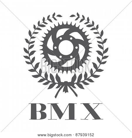 BMX concept with cogwheel inside laurel wreath
