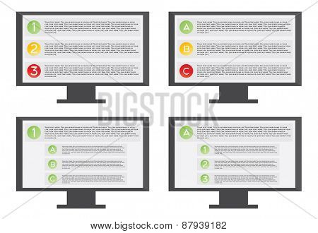 Monitor with list illustration on white background