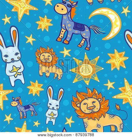 Seamless Vector Pattern With Animals And Stars At Night