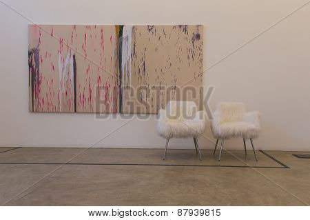 Paintings And Chairs At Fuorisalone 2015 At Ventura Lambrate Space In Milan, Italy